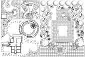 image of pergola  - Collections od  Landscape Plan with treetop symbols black and white - JPG