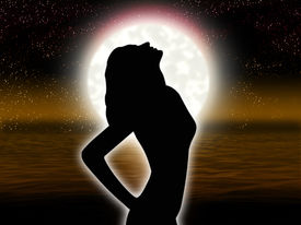 picture of moon silhouette  - Solitary woman by gesture expresses despair on background of the full moon - JPG