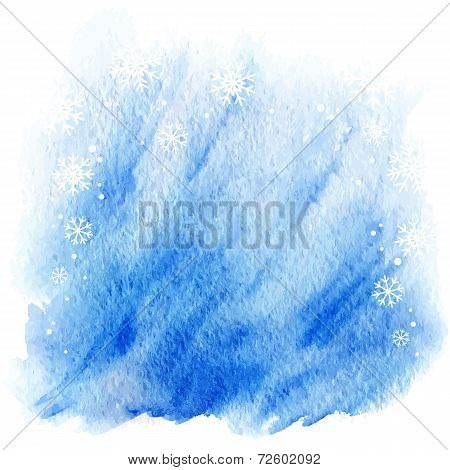 winter watercolor background. light blue sky with falling snowflakes