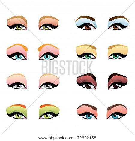 Woman Eyes With Different Makeup