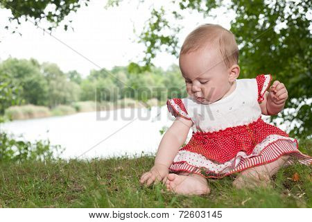 Baby Is Playing With The Grass