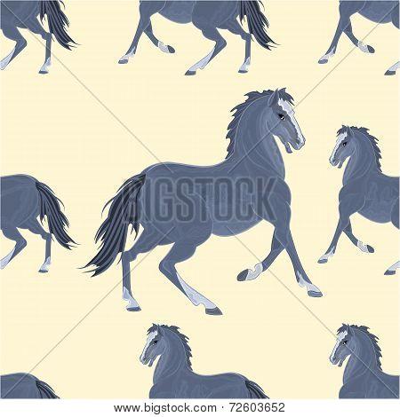 Seamless  Texture Black Horse Vector