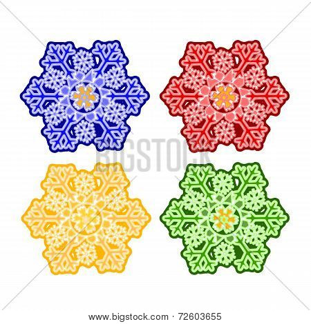 Christmas Trimmings Snowflake Faience Vector