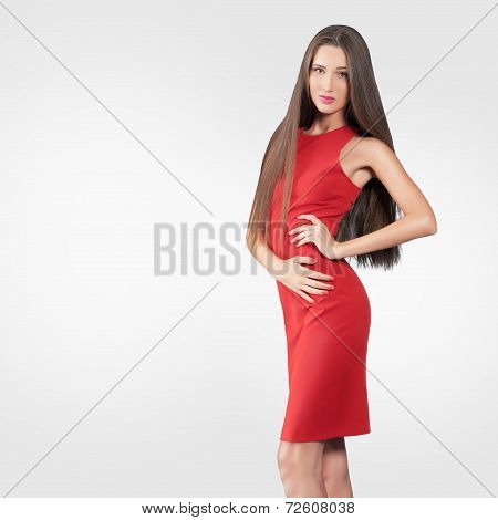 Beautiful Model In Red Dress