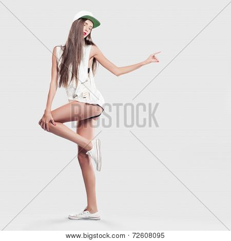 Model On A Gray Background Youth Style