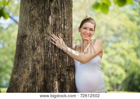 Portrait Pregnant Mother Woman Hug Tree Park Ecology