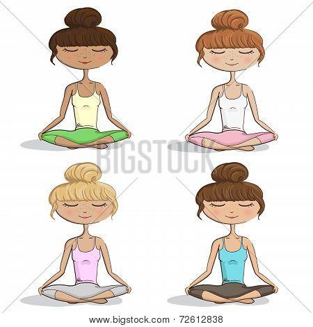 Girl Practicing Yoga - Set