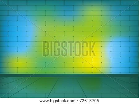 Colorful brick room for background