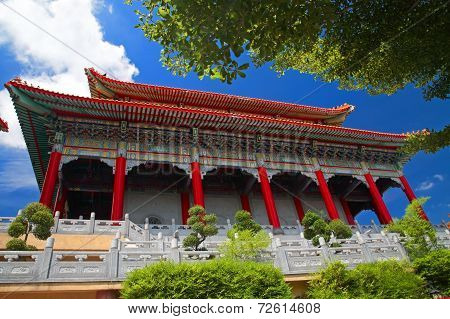 Chinese Temple At Wat Against Blue Sky