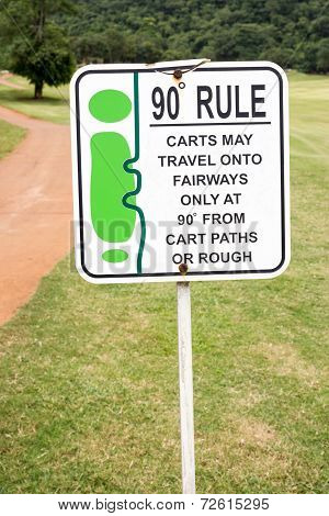 The Sign Of Golf Rule, 90 Degree Rule In Golf Course Thailand.