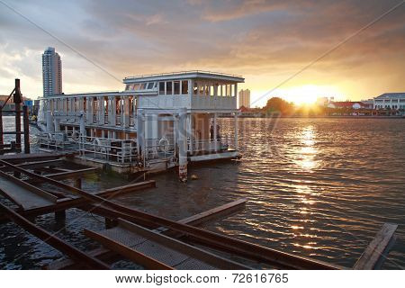 Boat Tour On River At Sunset In Bangkok
