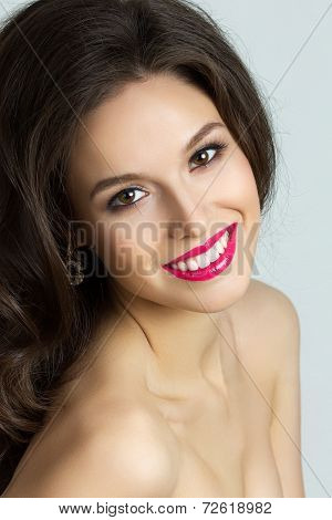 Beauty Portrait Of Young Happy Brunet Woman