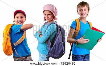Schoolchildren Of Grade School With Backpack And Books