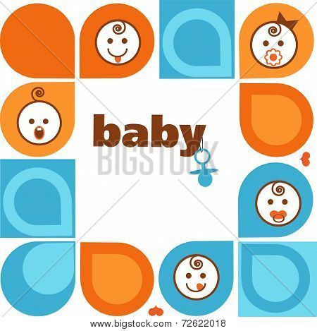 Vector vintage  frame with smiling baby faces