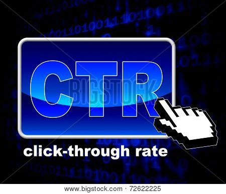 Click Through Rate Shows World Wide Web And Analytics