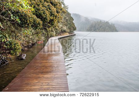 Wooden Walkway In Winter