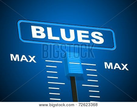 Blues Music Represents Sound Track And Amplifier