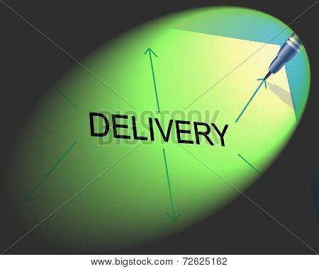 Delivery Distribution Represents Supply Chain And Package