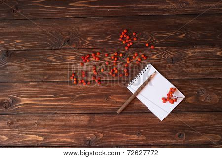 White notebook and red ashberry on the table