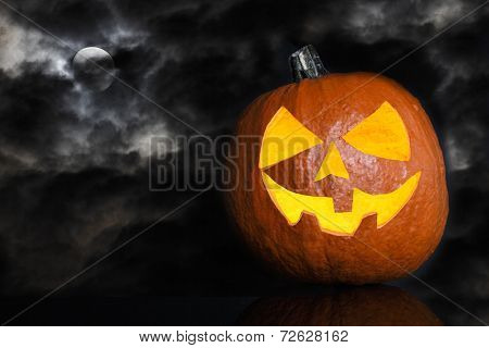 Pumpkin On A Black Cloudy Background For Halloween