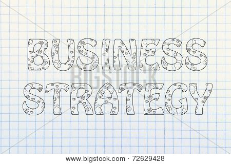 Business Strategy Writing With Glowing Gearwheels Pattern