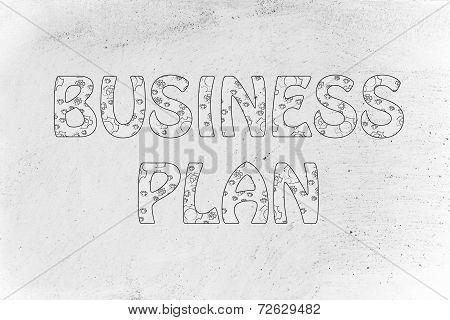 Business Plan Writing With Glowing Gearwheels Pattern