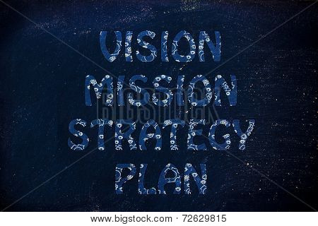 Vision, Mission, Strategy, Plan Writing With Glowing Gearwheels Pattern