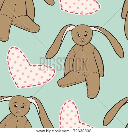 Hand Drawing Rabbit Toys Childish Seamless Pattern