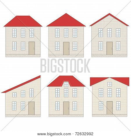 Set Of Brick Houses With Different Red Tile Roofs