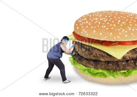 Man Avoiding A Big Burger