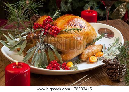 Christmas Turkey Prepared For Dinner