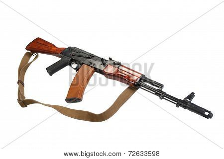 Kalashnikov Assault Rifle Ak-74 Isolated On A White Background