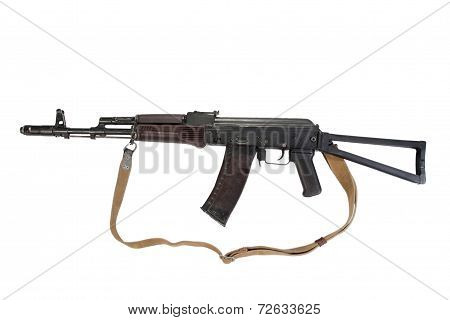 Kalashnikov Airborne Assault Rifle Aks74 Isolated On A White Background