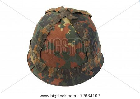 Bundeswehr Helmet With Camouflage Cover Isolated On White Background