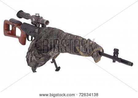 Camouflaged Sniper Rifle With Optic Sight