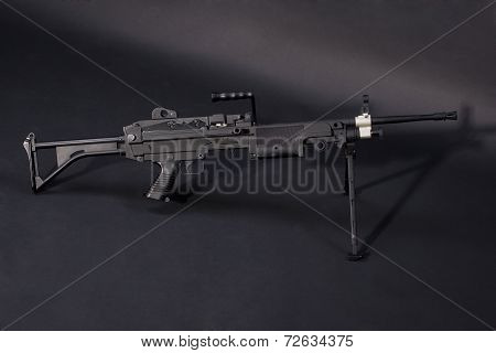 M249 Us Army Machine Gun On Black