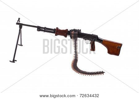Retro Machine Gun Isolated On White