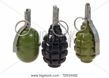 Set Of  Hand Grenades Isolated On A White Background