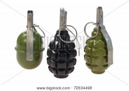 Set Of World War Two Soviet  Hand Grenades Isolated On A White Background