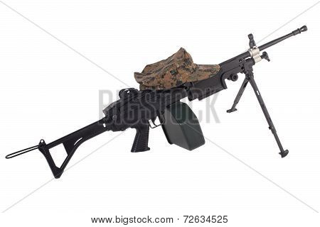 Machine Gun And Us Marine Kepi Isolated On White