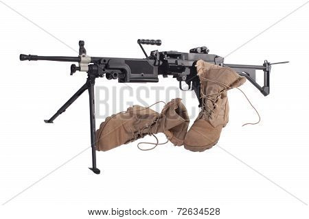 Machine Gun And Us Army Combat Boots Isolated On White