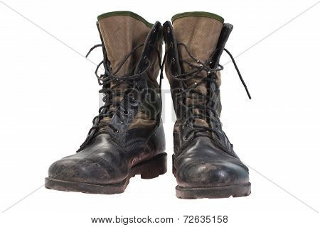Old Used Jungle Boots Isolated