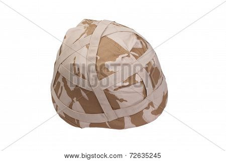 Army Kevlar Helmet With Camouflaged Cover Isolated On White