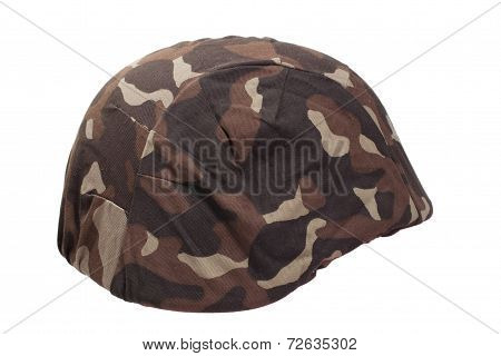 Ukraine Army Kevlar Helmet With Camouflaged Cover Isolated On Wh