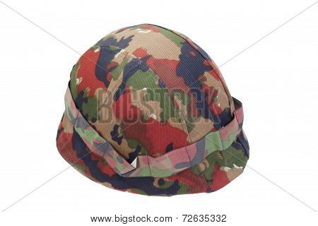 Swiss  Army Stell Helmet With Camouflaged Cover Isolated On Whit