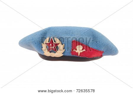 Soviet Army Airborne Forces Blue Beret Isolated On White Background