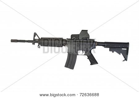 Us Army Carbine With Gunsight Isolated On A White Background