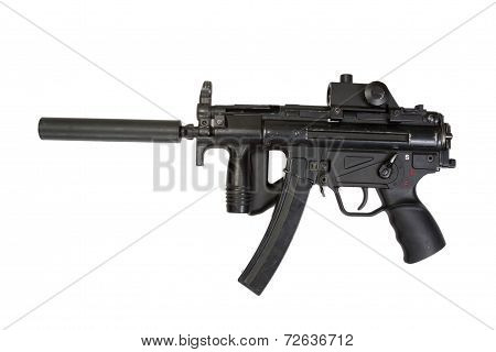 German Submachine Gun With Silencer Isolated