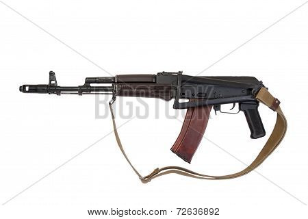 Kalashnikov Airborne Assault Rifle Isolated On A White Background