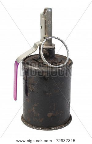 Vintage Hand Grenade Isolated On A White Background